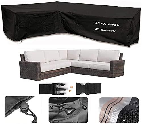 Garden Furniture Covers, 600D Heavy Duty Oxford Fabric L-Shape Garden Sofa Covers, V-Shaped Waterproof Corner Sofa Protect Set (215 * 215 * 87CM)