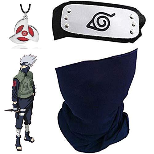 Blesser Naruto Kakashi Maske mit Konoha Naruto Stirnband Metall + Kakashi Sharingan Halskette, Kakashi Cosplay Set (3 Stück Set)