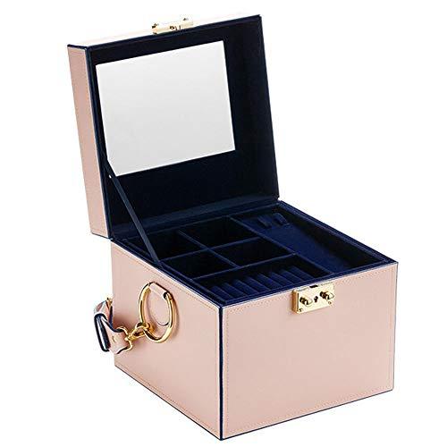 Joyero para mujer, organizador de joyas de tres capas con soporte de joyería con cerradura y estuche de viaje portátil, para anillos, pendientes, collares, estuche de regalo para niñas