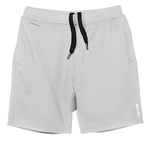YOGA CROW Men's Swerve Yoga, Workout, Gym, Cross Train, Active Shorts w/Anti-Microbial Inner Liner Light Grey