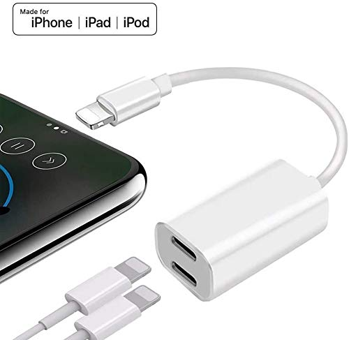 [Apple MFi Certified] Dual Lightning iPhone Splitter, 2 in 1 Dual Lightning Headphone Jack Audio + Charge Cable, iPhone Adapter & Splitter Support iOS 13, Compatible for iPhone 11/11 Pro/XS/XR/X 8 7