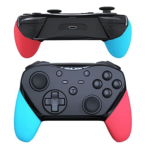 JOYSKY Manettes pour Nintendo Switch, Manette pour Switch sans Fil Bluetooth Contrôleur avec Batterie Au Lithium de 1200 mAh/Fonction Réveil/NFC/Fonction de Programmation Macro (Bleu/Rouge)