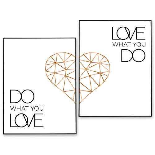 POSTER-SET mit Spruch DO WHAT YOU LOVE 40x50 mit Herz in Rose-Gold - BILDER-SET XXL Typographie - WAND-BILD - STATEMENT Zitat Sprüche Schriftzug Liebe - WAND-DEKORATION schwarz weiß - WAND-DEKO
