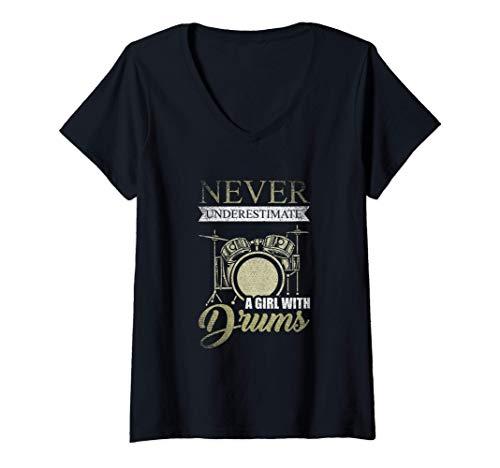 Mujer Rockera Drummer Nunca Subestimes A Una Chica Con La Batería Camiseta Cuello V