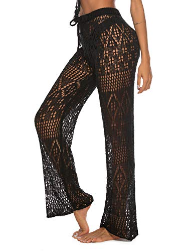 Blingfit Women's Beach Cover Up Pants Swimsuit Bikini Swimwear Crochet Lace Up Pants with Drawstring