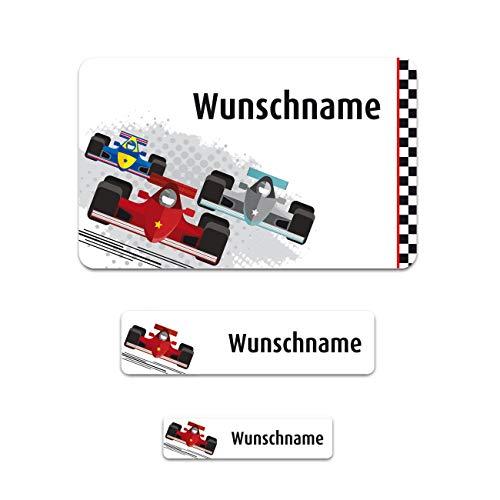 Striefchen® XXL Schuletiketten-Set (Aufkleber) zum Schulbeginn mit gratis Aufdruck des Namens im Racing Design 100 Stück