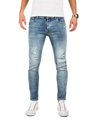 PITTMAN Skinny Jeans Herren Slim Fit M421 - Biker Jeanshosen für Männer - Zerrissene Hose Sommer Stretch Basic Chino, Blau (Blue Denim X4), W34/L32