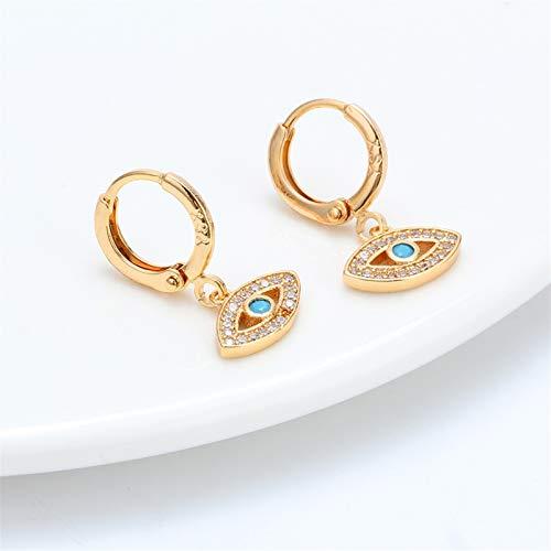 Xpccj Pendientes de tuerca de ojo de la suerte con micropavé de oro círculo turco para el mal de ojo de la suerte, pendientes colgantes de moda para mujer (Color de metal: dorado)