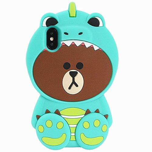 Artbling Case for iPhone Xs Max 6.5Silicone 3D Cartoon Animal Cover, Kids Girls Cool Fun Lovely Cute Bear Cases,Kawaii Soft Rubber Unique Character Fashion Protector for iPhone Xs Max(Green Dinosaur)