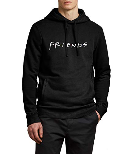 Mens Black Friends Hoodie - Friends Tv Series Graphic Pullover Hooded for Men | Friends, XL