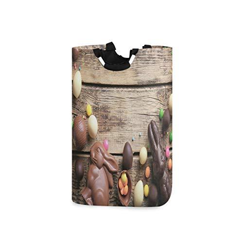 ZOMOY Multifunktionale Faltbarer Schmutzige Kleidung Wäschekorb,Festliche Süßigkeiten Frühlingszeit Kaninchen bunte Süßigkeit Schokolade köstlichen Feiertag,Household Wäschebox Spielzeug Organizer
