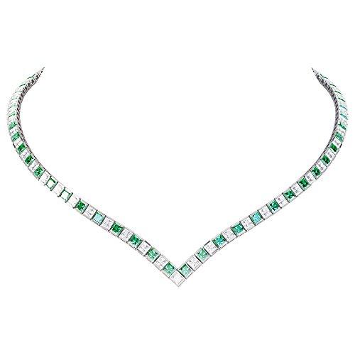 Prizess-Schliff Smaragd und Diamant Damen-Halskette Collier - 43cm - Silber - Weißgold