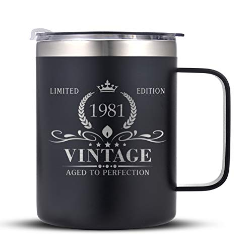 1981 40th Birthday Gifts for Men and Women, Funny Coffee Mug 40 Birthday Gifts for Dad, Son, Husband, Brother, 40th Birthday Gift Present Ideas for Him, 40 Year Old Bday Tumbler Gifts, Black
