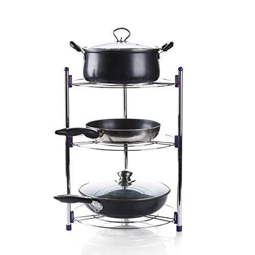 Cupboard Organiser Storage Multi-Layer Saucepan Stand Pan Lid Holder Racks for Kitchen, 3 Tier