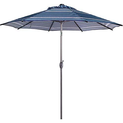 Abba Patio 9 Feet Patio Umbrella Market Outdoor Table Umbrella with Auto Tilt and Crank, Blue Striped
