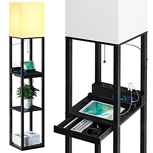 SUNMORY Floor Lamp with Shelves,Modern Dimmable Solid Wood Standing Lamp Both with 1 Drawer and 2 USB Ports & 1 Power Outlet,Corner Tall Bookshelf Lamp for Living Room and Bedroom(Black)