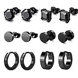 K&Q 6 Pairs Black Stainless Steel CZ Stud Earrings Hoop Earrings Set Huggie Hoop Ear Piercing for Woman/ Men/ Teen Girls and Boys Gift