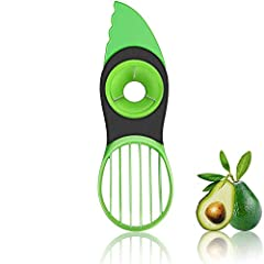 【3-in-1 Avocado Tool】Cutter/Slicer/Pitter/Corer/Divider/Scooper ,Allows you to cut avocados easily and safely. 【Innovative Design】All-in one avocado tool with Soft, comfortable non-slip grip splits, pits, slices your avocados safely and quickly. Ligh...