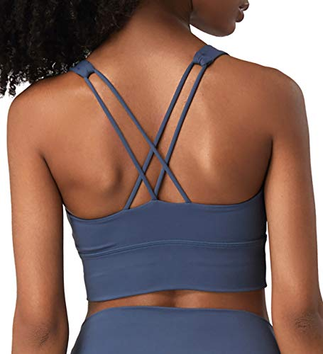 Kimmery Support Bra, Misses Fitness Sexy Bandeau Ultimate Lift and Support Wire Free Bra Smallish Stretchy Sassy Exercise Tank Tops Ink Blue X-Large