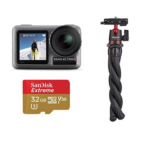 DJI OSMO Action Cam Digital Video Camera with 2 Displays, 11M Waterproof, 4K HDR-Video 12 Megapixel (Black), Bundle Kit with Mini Tripod/Selfie Stick + 32GB microSDHC Card