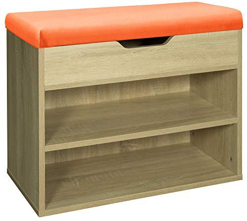 Kingpower Sitzbank Schuhschrank Schuhbank Schuhablage Bank Klappdeckel 6 Paar Schuhe Farbauswahl, Farbe:Natur