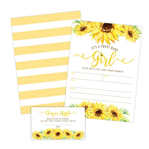 Sunflower Girl Baby Shower Invitations, Yellow Floral Baby Shower Invites with Diaper Raffles Cards, Sprinkle, 20 Invites Including Envelopes