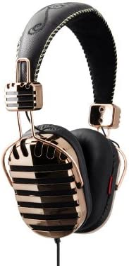 I-MEGO Headphones, Throne Gold, Leather Headband and Soft Pouch, Gold