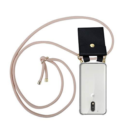 Cadorabo Handy Kette für Motorola Moto G4 / G4 Plus in PERLIG ROSÉGOLD - Silikon Necklace Umhänge Hülle mit Gold Ringen, Kordel Band Schnur und abnehmbarem Etui – Schutzhülle