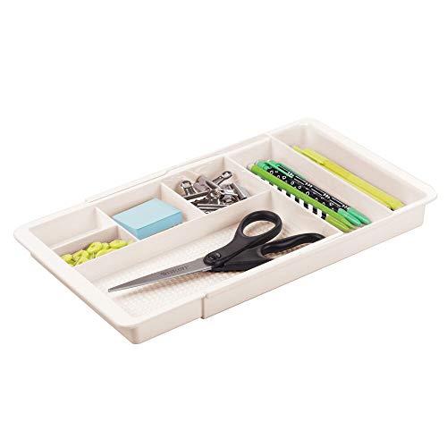 mDesign Schreibtisch Organizer – ausziehbare Schubladenbox mit 6 Fächern für Schreibwaren, Bastelzubehör etc. – BPA-freier Schubladen Organizer für Büro, Küche oder Bad – cremefarben