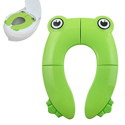 Galaxer Foldable Potty Toilet Training Seat Portable Travel Toddler Toilet Seat PP Material Cute Frog Design with 4 Anti Slip Silicon Pads and 1 Carry Bag Prevent Germs Spread
