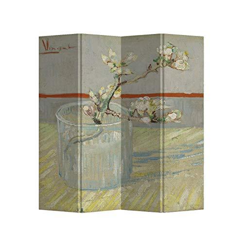 Fine Asianliving Paravent Raumteiler B160xH180cm 4-teilig Van Gogh Blühender Mandelzweig in einem Glas