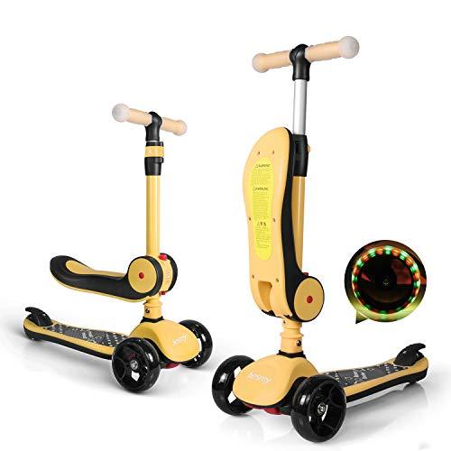 besrey 2-in-1 Kinderroller, höhenverstellbarer Kinderroller für Kinder von 2 bis 14 Jahren. Die Sitzhöhe ist nicht einstellbar. Räder mit LED-Leuchten. Keine Montage erforderlich, einfach zu verstauen