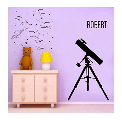 Grote telescoop en de sterren en uw naam muursticker - Vinyl Wall Art voor kinderen kamer, speelkamer en kinderkamer Astronomie Decor (ID:141016) Eenvoudig aan te brengen en verwijderbaar