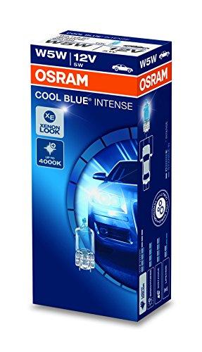 Osram 2825 Cool Blue Intense W5W Lámpara Halógena de Posición, Matrícula, Luz Trasera, 12 V, 5 W, 10 unidad