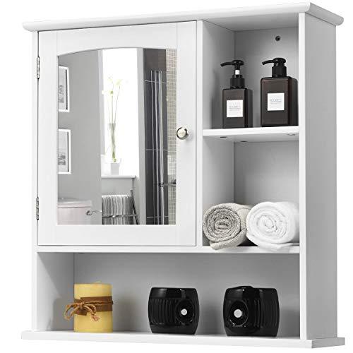 COSTWAY Hängeschrank mit Spiegeltür, Spiegelschrank mit verstellbaren Einlegeboden und offenen Regalfächern, Badezimmerschrank weiß, Wandschrank 60 x 18 x 63 cm