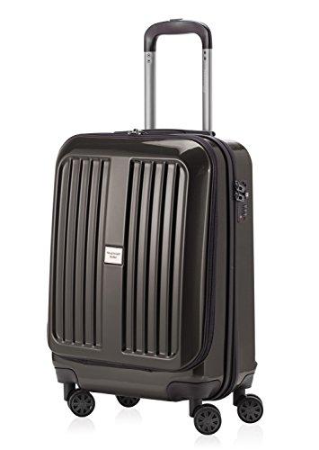 HAUPTSTADTKOFFER - X-Berg - Hand Luggage On-Board Suitcase Cabin Bag Hardside Spinner Trolley 4 Wheel, TSA, 55 cm, 42 liter, Graphite glossy