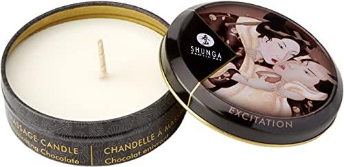 Shunga Vela de Masaje Excitation, Aroma de Chocolate, Color Blanco - 30 ml