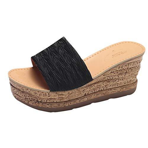 Sandalias Mujer Verano 2019 Zapatos de Plataforma Mujer Cuña Chanclas Mujer Flip Flop Playa Piscina Zapatillas Sandalias de Punta Abierta Fiesta Roman Tacones Altos Sandalias vpass
