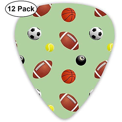 Rugby- und Fußballgitarren-Plektren 12 Packungen mit jeweils 4 Teilen mit 0,46 mm, 0,71 mm und 0,96 mm.
