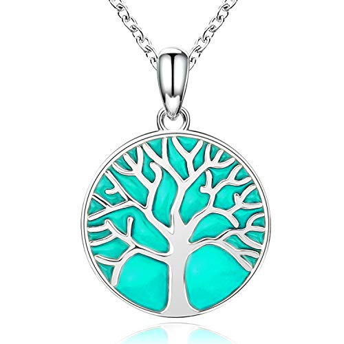 APOTIE 925 Silver Celtic Knot Tree of Life Jewelry Pendant Necklace Drop Hook Earrings Mother Day Jewelry for Mom Women Girls (Glowing)