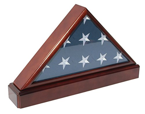 Burial/Funeral Flag Display Case Holder Frame Military Shadow Box with Pedestal Stand (with No Mat)