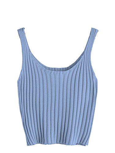 SweatyRocks Women's Ribbed Knit Crop Tank Top Spaghetti Strap Camisole Vest Tops Blue S