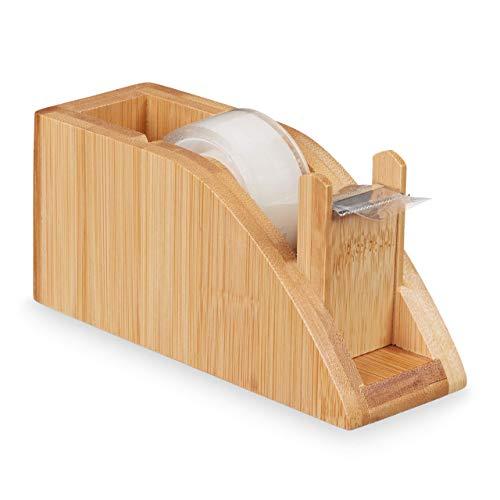 Relaxdays Tischabroller Bambus, Klebestreifen Spender für 25mm Rollen, Klebebandabroller mit Abrisskante, basteln, natur