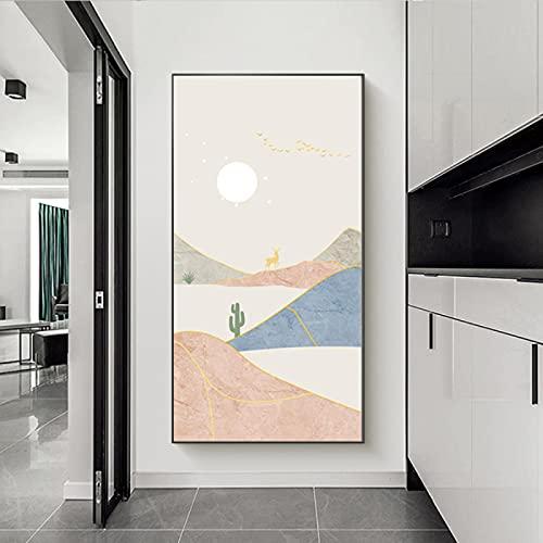 Abstracte Landschap Grote Foto's voor Woonkamer Canvas Maan Muur Kunst Boho Herten Foto's voor Hal Kantoor Muur Decor…