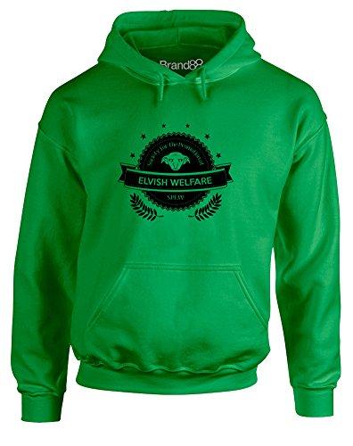 Brand88 S.P.E.W, Hoodie per Adulti - Verde Irlandese/Nero XL = 116-121cm