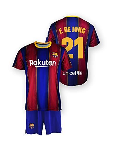 Replica FC t-shirt e pantaloni set. Barcelona 1st EQ stagione 2020-21 - Prodotto con licenza - Dorsal 21 F. DE Jong - 100% poliestere - Taglia 12 anni