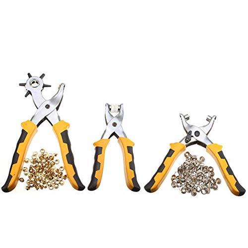 DONDOW Alicates de cuero para cinturón de agujero, alicates con ojales, kit de herramientas 3 piezas con 200 piezas herramienta multifunción herramientas de mano