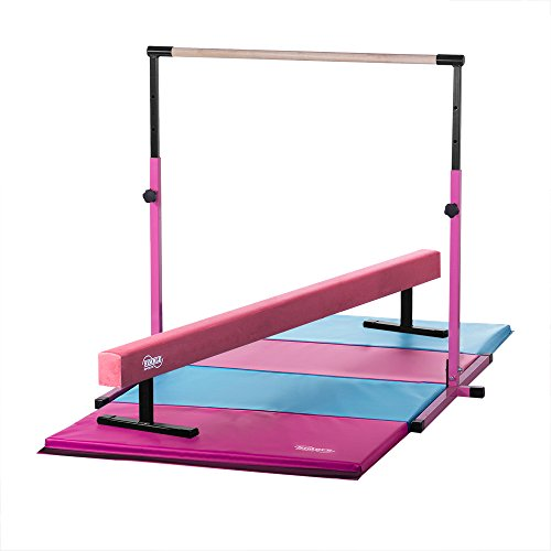 Nimble Sports Little Gym - Pink and Light Blue Indoor Gymnatics Equipment for Kids - Gymnastics Kip Bar, Balance Beam, Tumble Mat
