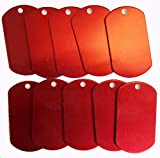 Spoilt Rotten <span class='highlight'>Pets</span> Anodised Aluminium Blank RED Pet Identity Tags x 10 Small Army Military Tag Shaped Job Lot <span class='highlight'>Wholesale</span> Blanks For Engraving & Stamping (Red)