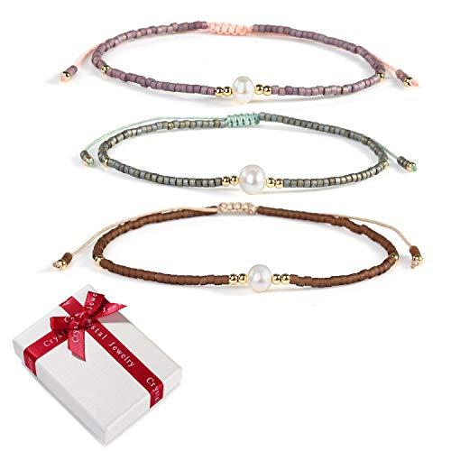 3Stück Mix Perle Farbe Miyuki Perlen Charme Armband Freundschaftsarmbänder set für Frauen Mädchen,Boho Elastisch Verstellbar Zart Damen Armreif Geschenk für Mama Beste Freundin Weihnachten Geburtstag